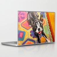 boston terrier Laptop & iPad Skins featuring Boston Terrier by Good Artitude