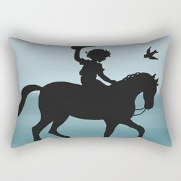Boy and horse silhouette teal Rectangular Pillow