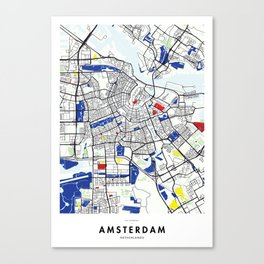 Amsterdam (Netherlands) Map x Piet Mondrian Canvas Print
