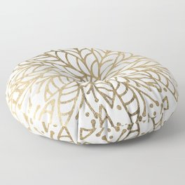 Elegant white faux gold floral trendy mandala Floor Pillow