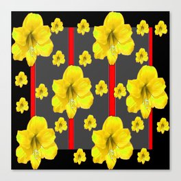 YELLOW AMARYLLIS BLACK-RED DECO ART Canvas Print