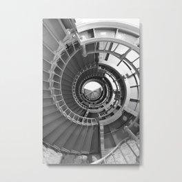 Gray's Harbor Lighthouse Stairwell Spiral Architecture Washington Nautical Coastal Black and White Metal Print