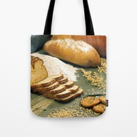 baking Tote Bags featuring Baking Bread by BravuraMedia