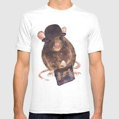 rat, journalist, office rat, rat in hat, cheeky rat, British, funny rat White Mens Fitted Tee MEDIUM