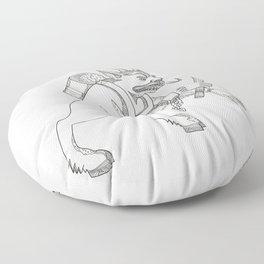 Krampus With Stick Doodle Art Floor Pillow