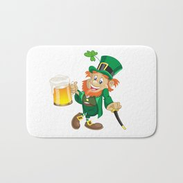 St Patrick leprechaun with cup of beer and cane Bath Mat