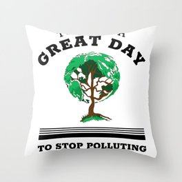Earth Day Protect Planet Tree Climate Change Awareness Quote design Throw Pillow