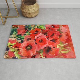 Red Poppies red floral pattersn texture poppy flower design Rug