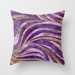 Amethyst and Fluorite Wavy Pattern Throw Pillow