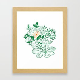Japanese Style Green with Orange Flowers Framed Art Print