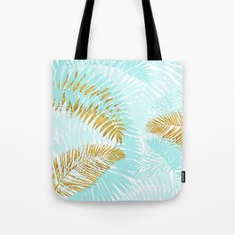 Aloha - Tropical Palm Leaves and Gold Metal Foil Leaf Garden Tote Bag