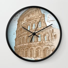 colosseum color hand draw background Wall Clock