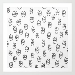 lips in grey Art Print