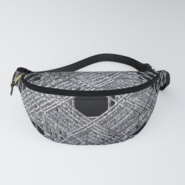Rectilinear crackle black and white.psd Fanny Pack