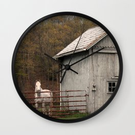 Farm with Barn and Horse Wall Clock