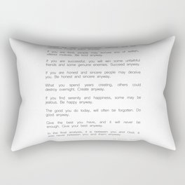 Do It Anyway by Mother Teresa 2 #minimalism #inspirational Rectangular Pillow