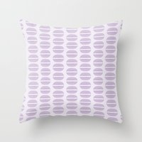macaroon Throw Pillows featuring Purple Macaron Pattern - Lavender Macaroon by French Macaron Art Print and Decor Store