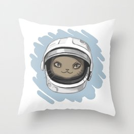 Spase cat Throw Pillow