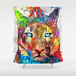 Puma Watercolor Grunge Shower Curtain