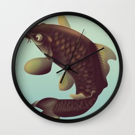 China Koi Vintage Stretched travel poster Wall Clock