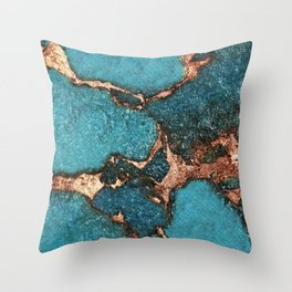 GEMSTONE  & GOLD AQUA Throw Pillow