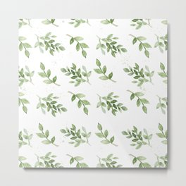 Forest green white hand painted botanical foliage Metal Print