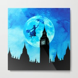 Magical Watercolor Night - Mary Poppins Metal Print