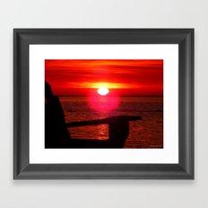 Sun Melts into the Sea Framed Art Print