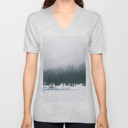 Evergreen Winter Forest (Color) Unisex V-Neck