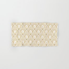 Modern White and Gold Geometric Abstract Pattern Hand & Bath Towel