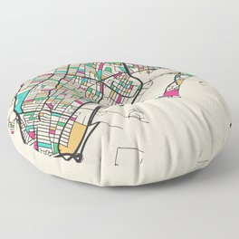 Colorful City Maps: Jersey City, New Jersey Floor Pillow