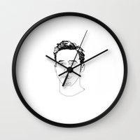 ryan gosling Wall Clocks featuring Ryan Gosling by Caron Lee