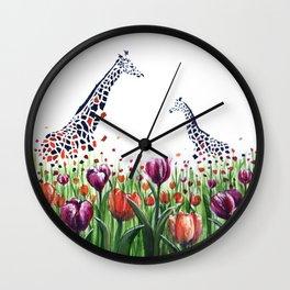 Giraffes in a field of Tulips Wall Clock