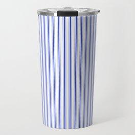 Small Vertical Cobalt Blue and White French Mattress Ticking Stripes Travel Mug