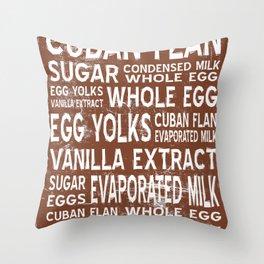 Cuban Flan Word Food Art Poster (Brown) Throw Pillow