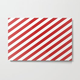 Red and White Candy Cane Stripes, Thick Angled Lines Festive Christmas Metal Print