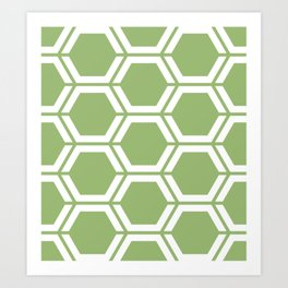 Olivine - green - Geometric Polygon Pattern Art Print