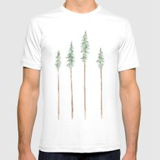 Pine Trees Mens Fitted Tee White MEDIUM