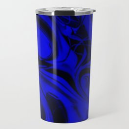 Black and Blue Swirl - Abstract, blue and black mixed paint pattern texture Travel Mug
