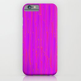 Vertical curved violet lines on a pink tree. iPhone Case