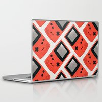 gameboy Laptop & iPad Skins featuring Gameboy Color: Red (Pattern) by Zeke Tucker