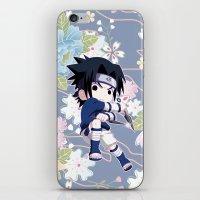 sasuke iPhone & iPod Skins featuring Chibi Sasuke Uchiha by Neo Crystal Tokyo
