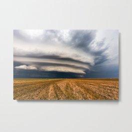 Vast - Supercell Thunderstorm Over Open Field in Kansas Metal Print