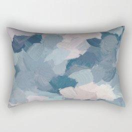 Mint Aqua Navy Indigo Blue Blush Pink Abstract Painting, Modern Wall Art Paint Strokes Random Rectangular Pillow