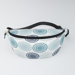 Circle in Circles Blue Teal Pattern Fanny Pack