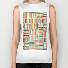 Retro Beach Chair Bright Watercolor Stripes on White Biker Tank