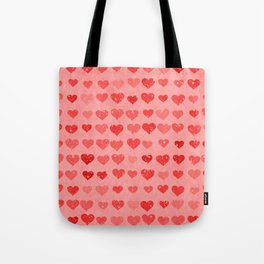 Pink Valentines Love Hearts Tote Bag