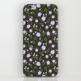Lilac Flowers on Green - Floral Pattern iPhone Skin
