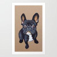 french bulldog Art Prints featuring French Bulldog by PaperTigress