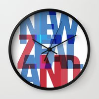 new zealand Wall Clocks featuring New Zealand by Feb Studios